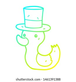 cold gradient line drawing of a cartoon duck wearing top hat