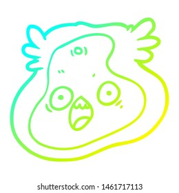 cold gradient line drawing of a cartoon germ