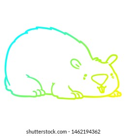 cold gradient line drawing of a cartoon wombat