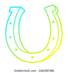 cold gradient line drawing of a cartoon iron horse shoe
