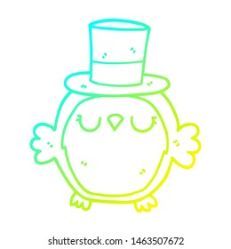 cold gradient line drawing of a cartoon owl wearing top hat