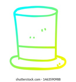 cold gradient line drawing of a cartoon top hat