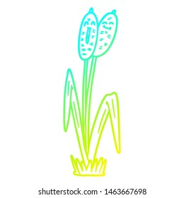 cold gradient line drawing of a cartoon bullrush