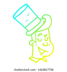 cold gradient line drawing of a cartoon man wearing top hat