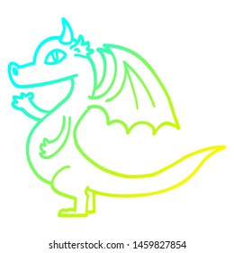 cold gradient line drawing of a cute cartoon dragon