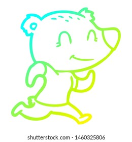cold gradient line drawing of a healthy runnning bear cartoon