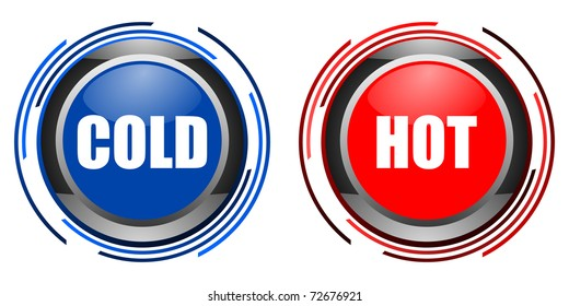 cold and hot glossy button set isolated over black