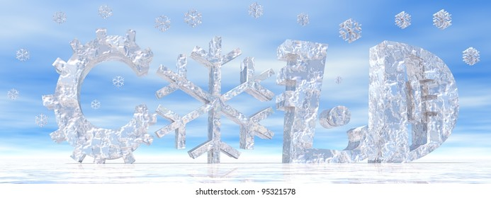 Cold letters with snow symbol instead of O letter and snow falling