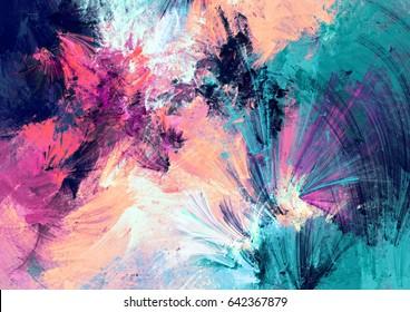 Kaltes mehrfarbiges schönes futuristisches Muster. Abstraktes Gemälde mit heller Farbstruktur. Heller, moderner künstlerischer Hintergrund. Fractal-Kunstwerke für kreatives Grafikdesign