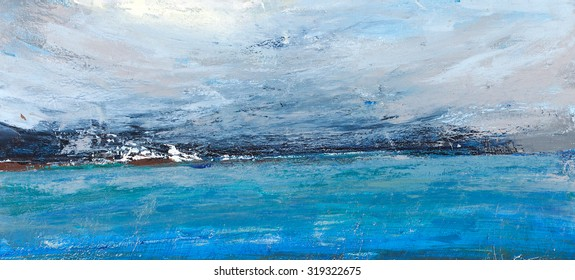 Cold ocean, landscape with the sea, rough country. Painting, pictorial art