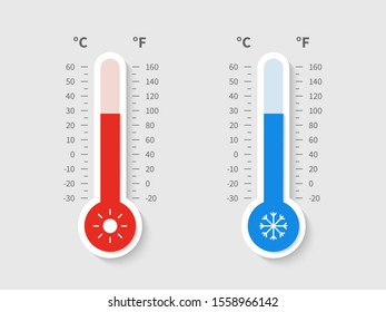Cold warm thermometer. Temperature weather thermometers meteorology celsius fahrenheit scale, temp control thermostat device flat icon