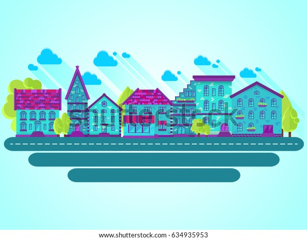 Colection of houses in a row, city street, bright colored houses, flat design, flat houses, raster copy of vector file