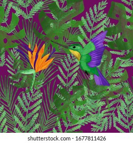Colibri and orange strelitzia on background of tropical leaves on violet background. Multicolored seamless summer pattern. Exotic tropical print. Packaging, texile design.