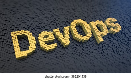 Collaboration of both software developers and IT specialists. Acronym DevOps of the yellow square pixels on a black matrix background. 3D illustration picture