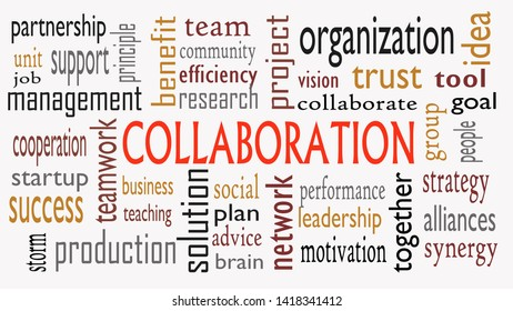 Collaboration concept in word cloud isolated on white background - Illustration
