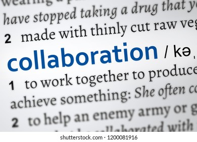 collaboration definition word. Focus on the word