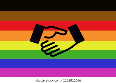Collaboration icon symbol of LGBT (lesbian, gay, bisexual, transgender/transsexual)Flag