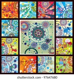 collage from 12 zodiac signs and planetarium image