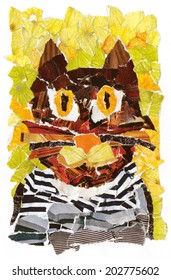 COLLAGE artistic ILLUSTRATION of a CAT in a frock