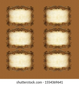 collage beautiful photo frame brown background.