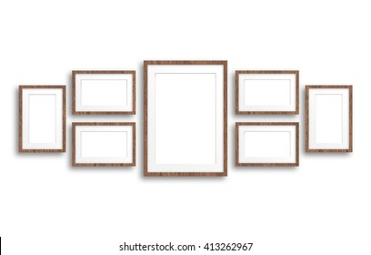 Collage of blank photo frames with wooden design, decor mock up