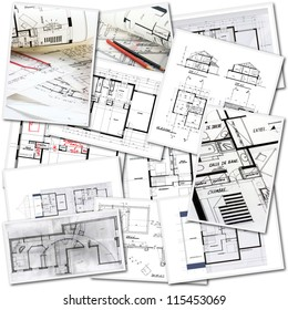 Collage with blueprints in different creation stages