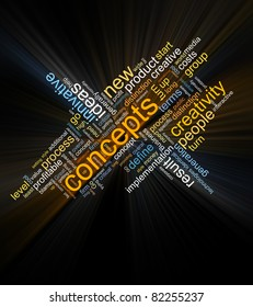 collage of different words on a dark background on business topics