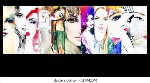 collage. fashion illustrations