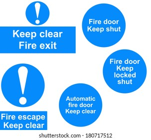 A collage of Fire door signs