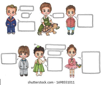 Collage of images of children with dialogue icons. Drawing markers on a white background