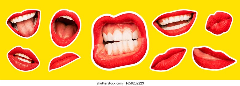 Collage in magazine style with female lips on bright yellow background. Smiling, mouthes screaming, scratching, different emotions. Modern design, creative artwork, style, human emotions concept.