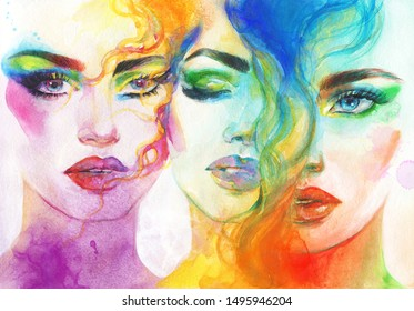 Collage. Makeup face. beautiful woman. fashion illustration. contemporary watercolor painting