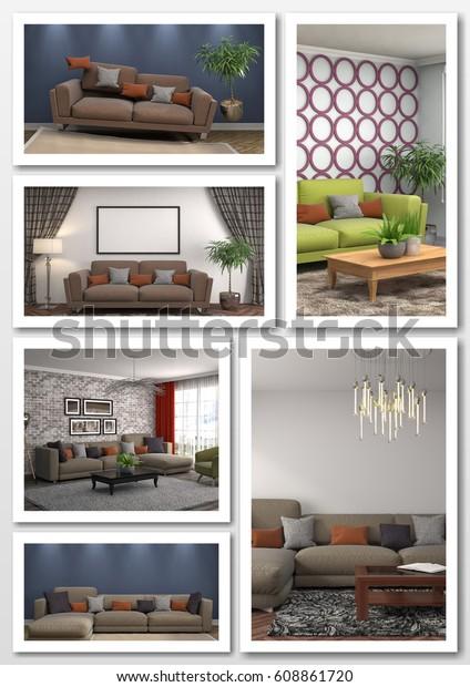 Collage Modern Home Interior 3d Illustration Stock Illustration ...