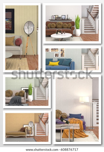 Collage Modern Home Interior 3d Illustration Stock Illustration ...