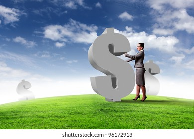Collage on business and money theme with currency symbol