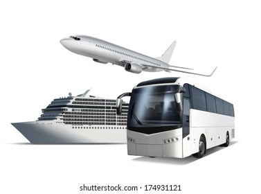 Collage of plane, ship and bus isolated on white with path, transport for travel