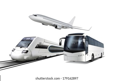 Collage of plane, train and bus isolated on white, transport for travel