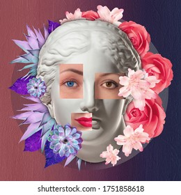 Collage with plaster antique sculpture of human face in a pop art style. Creative concept colorful neon image with ancient statue head. Zine culture. Cyberpunk, webpunk and surreal style poster.