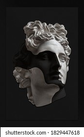 Collage with plaster antique sculpture of human face in a pop art style. Creative concept image with ancient statue head in black and white. Zine culture. Contemporary art style poster. Apollo bust.