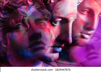 Collage with plaster antique sculpture of human face in a pop art style. Creative concept colorful neon image with ancient statue head. Cyberpunk, webpunk and surreal style poster.