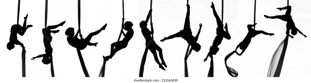 Collage positions of woman dancer on aerial silk, aerial contortion, aerial ribbons, aerial fabric in posing exercise isolated in white background
