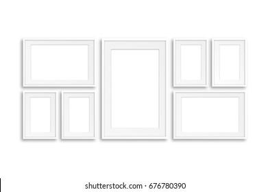 Collage of seven blank photo frames, interior decoration mock up, 3D illustration