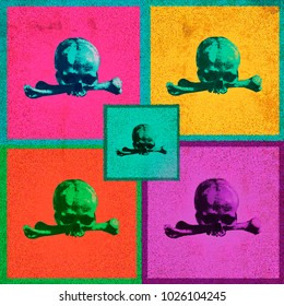 a collage of skulls of different colors in the style of pop art