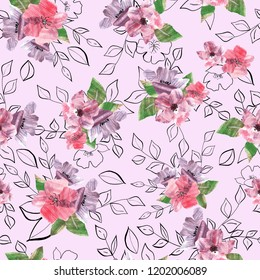 Collage style flower pattern, 5000*5000pixel, 300dpi, good for texile orwrapping papper