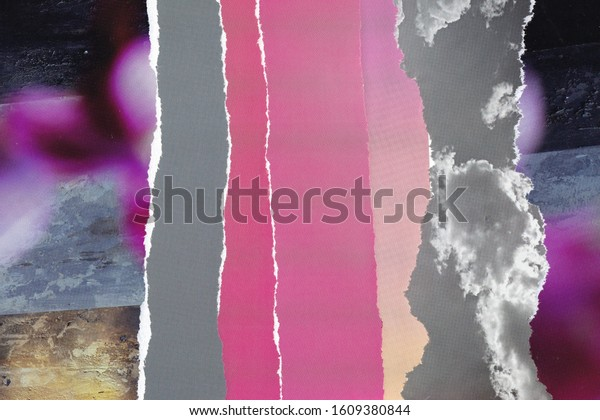 Collage texture background grunge abstract wallpaper grey pink magazine hand made torn teared