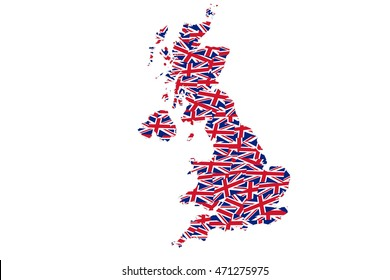 Collage of Union Jack flags within a map outline of the British Isles