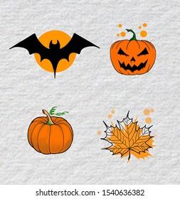 collage of various halloween elements: bat, pumpkin, autumn leaf