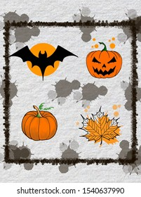 collage of various halloween elements: bat, pumpkin, autumn leaf on the background with blots