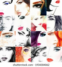 collage. watercolor painting. female portrait. illustration.
