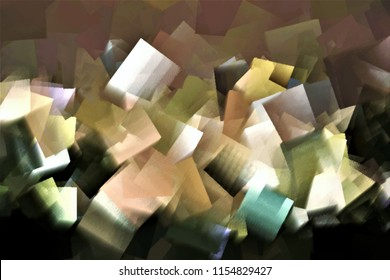 collapse of colors,tribute to Pollock, Series of cubist abstract illustration of different colors, white,ochre,rose, green,
